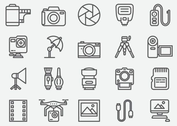 illustrazioni stock, clip art, cartoni animati e icone di tendenza di photography and camera accessories line icons - foto