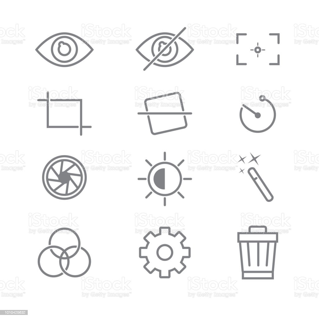 Photography And Camera Function Icons With White Background Stock ...