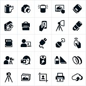 An icon set of cameras and gear related to the photography business. The icons include a point and shoot camera along with DSL cameras, lenses and equipment.