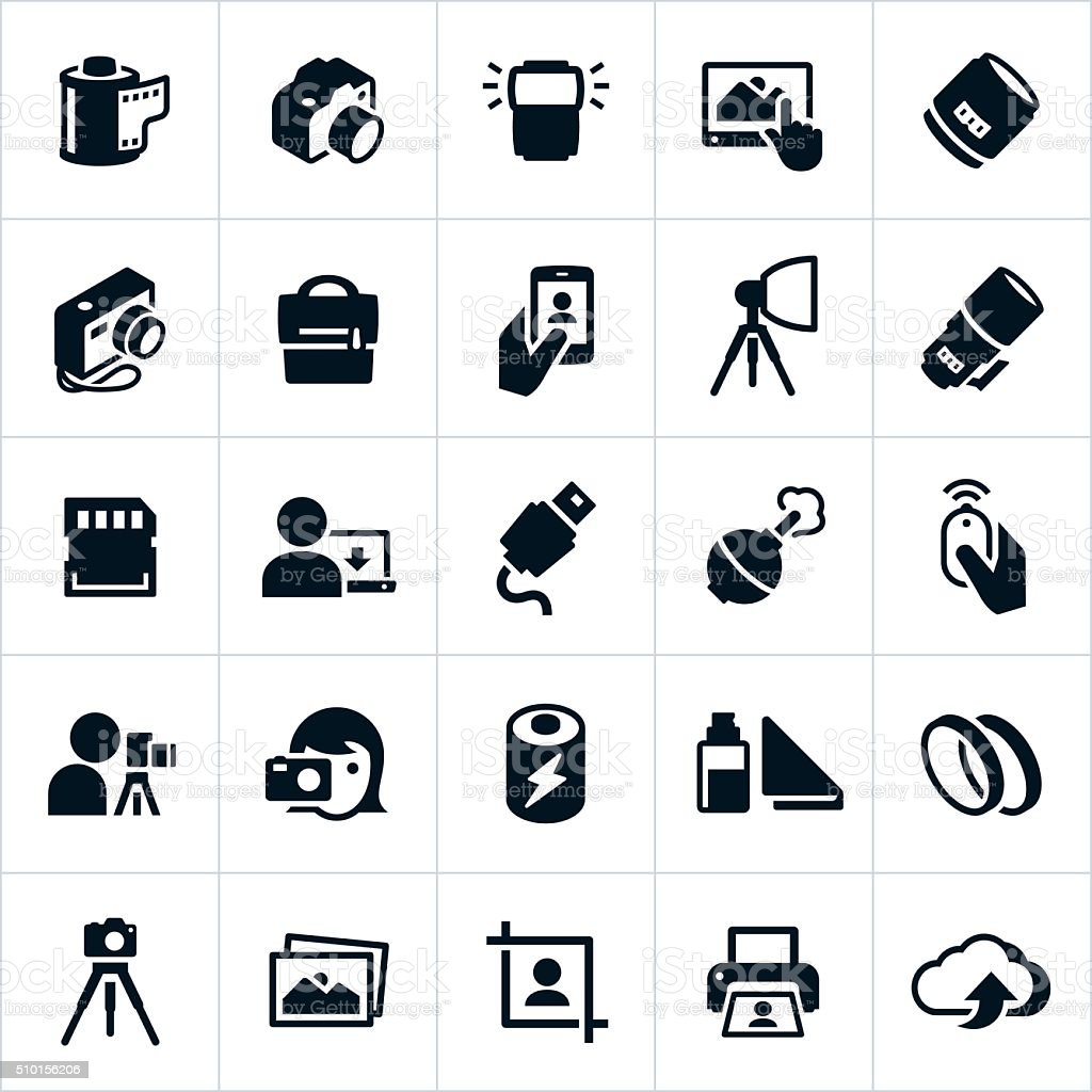 Photography and Camera Icons vector art illustration