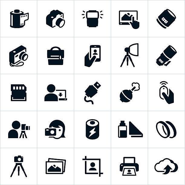 stockillustraties, clipart, cartoons en iconen met photography and camera icons - telelens