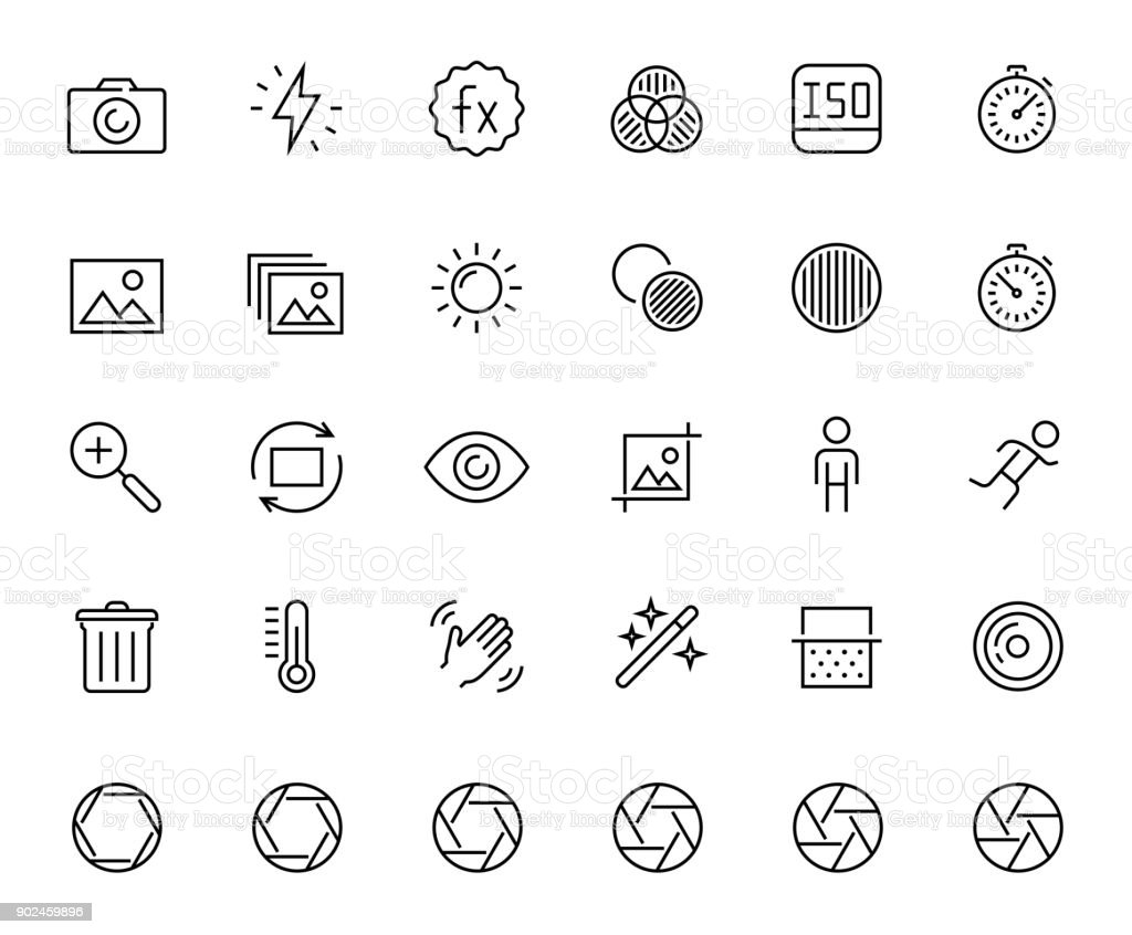 Photography and digital camera related vector icon set in thin line style