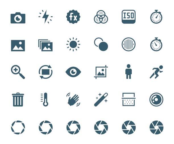 fotografie und digitale kamera verwandte vektor icon set - bildkomposition und technik stock-grafiken, -clipart, -cartoons und -symbole