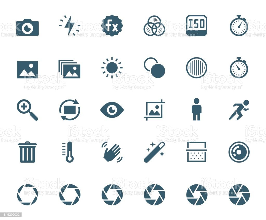 Photography and digital camera related vector icon set vector art illustration