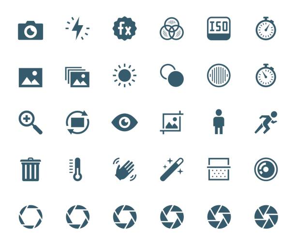 stockillustraties, clipart, cartoons en iconen met fotografie en digitale camera verwante vector icon set - fotografische thema's