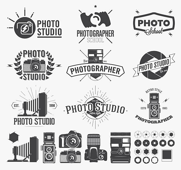 photography and photo studio logo, classic camera labels - fotostudios stock-grafiken, -clipart, -cartoons und -symbole