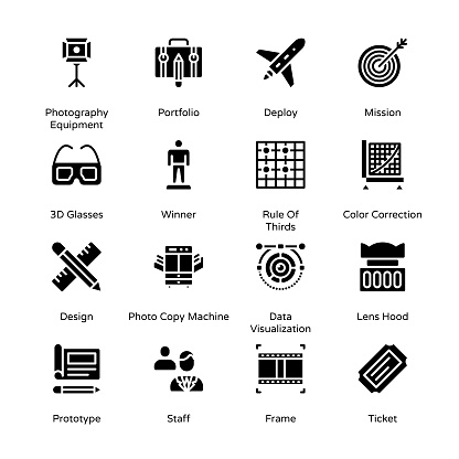 Photography and Post Production Glyph Icons - Solid, Vectors