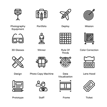 Photography and Post Production Outline Icons - Stroked, Vectors