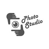 Photography camera concept logo icon vector template