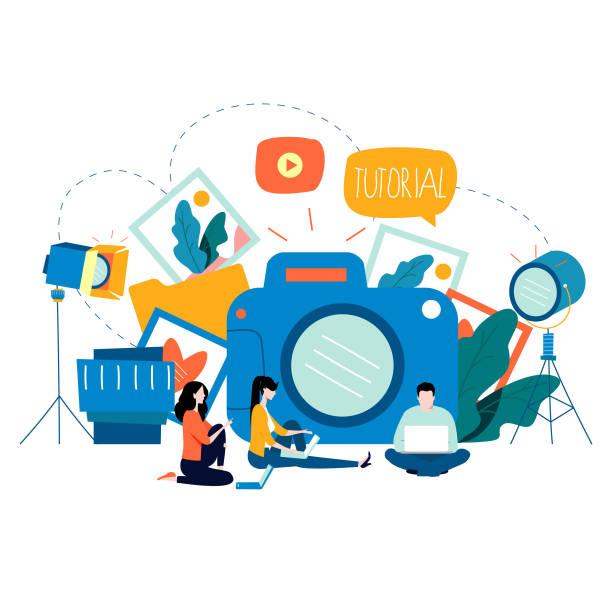 fotografiekurse, fotokurse, tutorials, bildungskonzept, workshops - fotografieanleitungen stock-grafiken, -clipart, -cartoons und -symbole