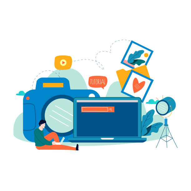 fotokurse, tutorials, bildungskonzept, fotografiekurse, workshops flache vektor-illustration - fotografieanleitungen stock-grafiken, -clipart, -cartoons und -symbole
