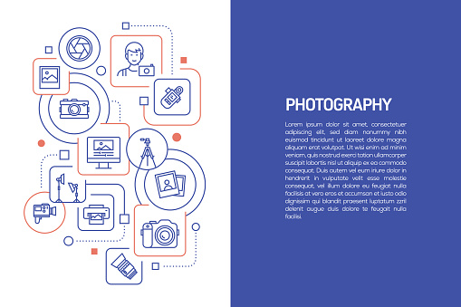Photography Concept, Vector Illustration of Photography with Icons