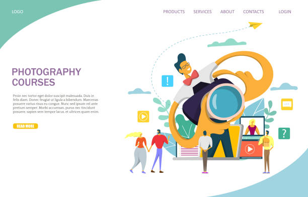 fotokurse vector website landing-page-design-vorlage - fotografieanleitungen stock-grafiken, -clipart, -cartoons und -symbole