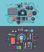 Concept illustrations with flat design-styled vectors themed on photography & creativity. EPS 10 file, layered & grouped,