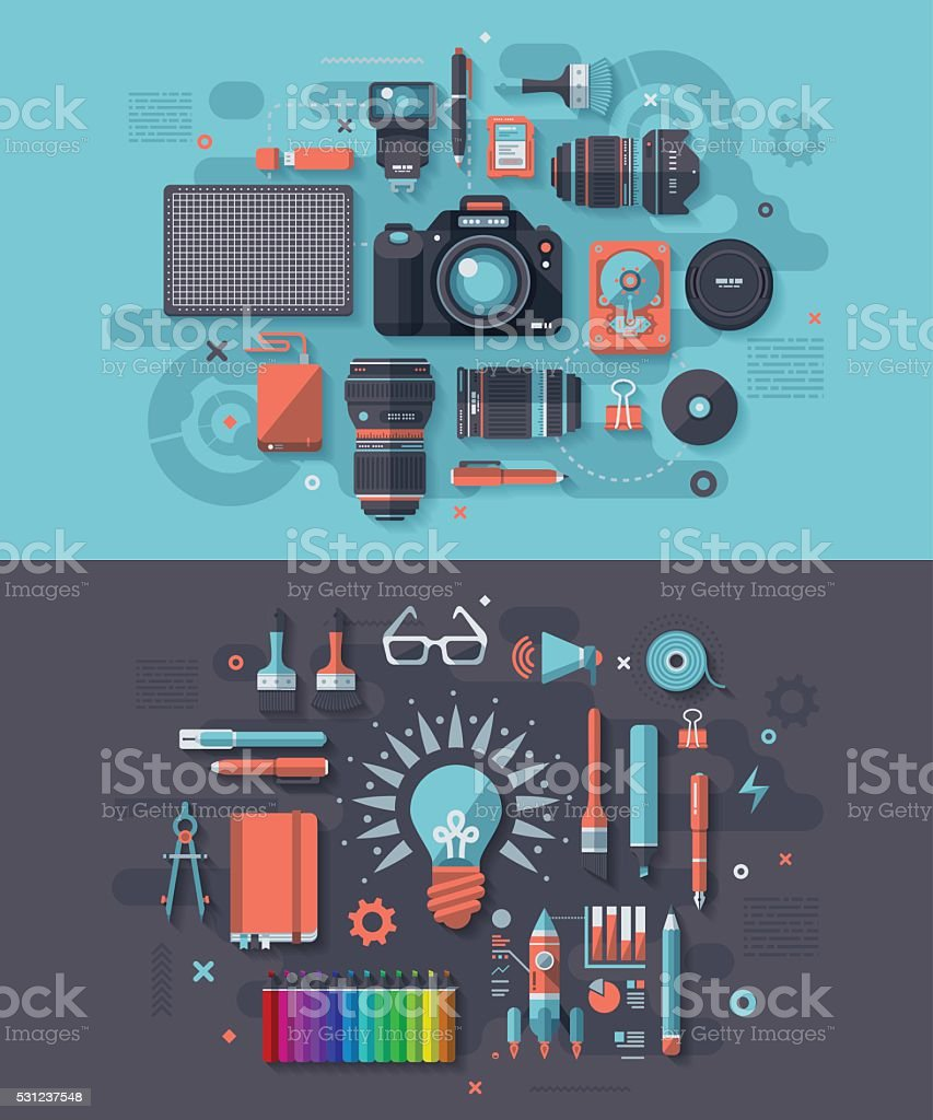 Photography & Creativity Concept vector art illustration
