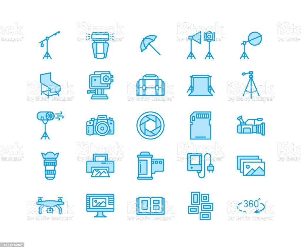Photography equipment flat line icons. Digital camera, photos, lighting, video photo accessories, memory card, tripod lens film. Pixel perfect 64x64 vector art illustration