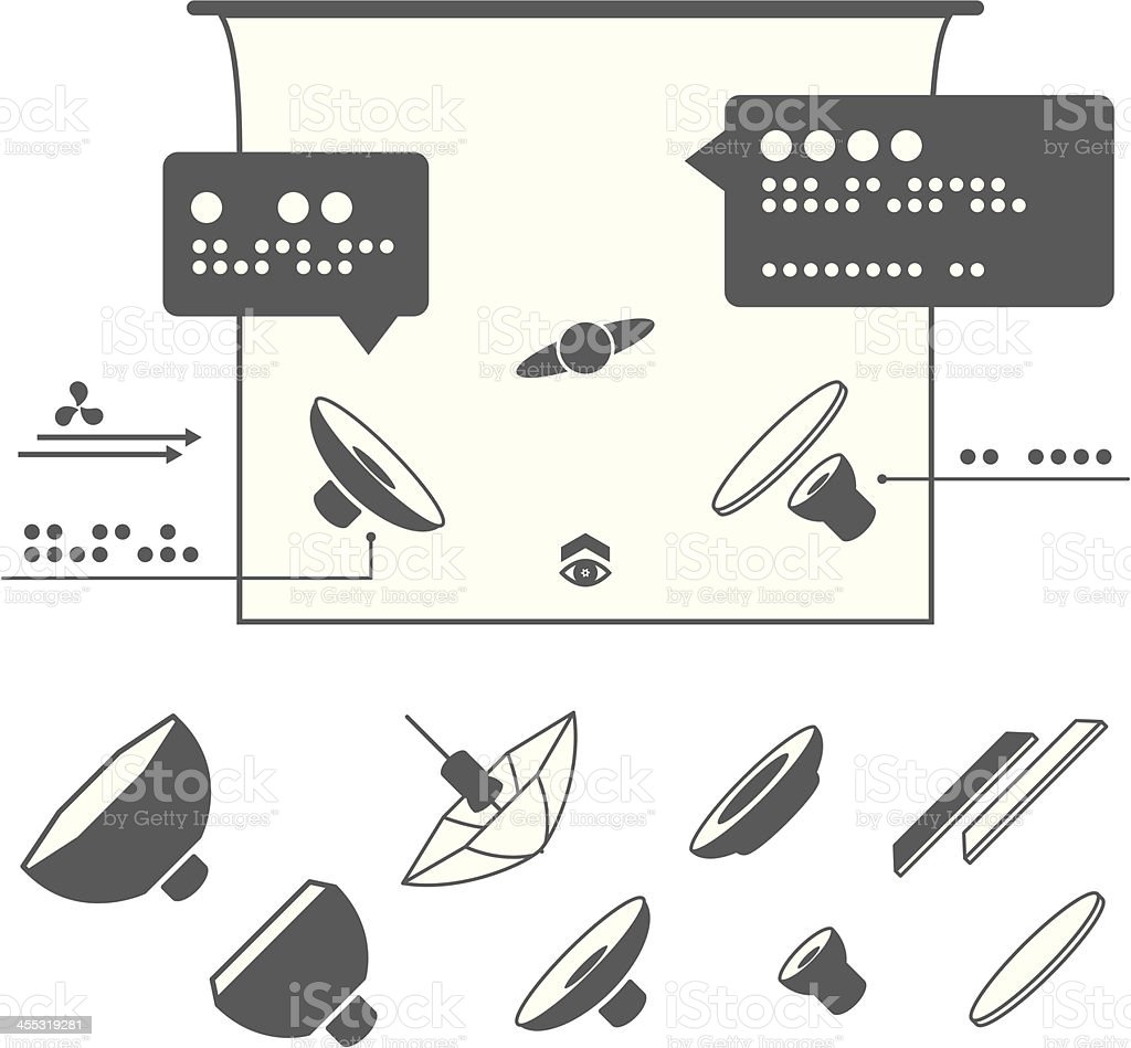 Photography Equipment Icons for Lighting Diagrams vector art illustration