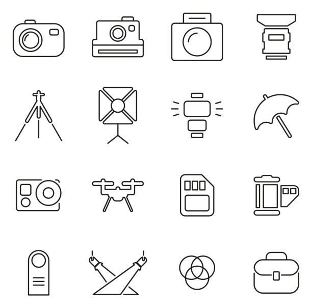 fotografie ausrüstung icons dünne linie vektor illustration set - fotografieanleitungen stock-grafiken, -clipart, -cartoons und -symbole