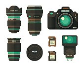 A set of flat design-styled photography equipment. EPS 10 file, layered & grouped,