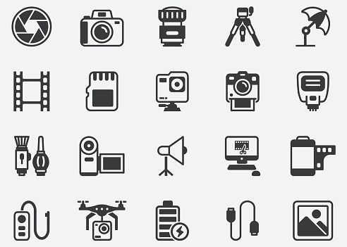 Photography ,Film , Shutter ,Accessory ,Video Edit, Film Industry Pixel Perfect Icons