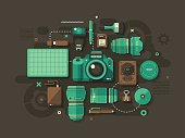 A concept illustration with flat design-styled vectors themed on photography. EPS 10 file, layered & grouped,