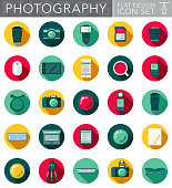 A photography themed circular flat design style icon set with a long side shadow. File is cleanly built and easy to edit. Vector file is built in the CMYK color space for optimal printing.