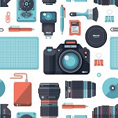 A seamless pattern of flat design-styled vectors themed on photography. EPS 10 file, layered & grouped,