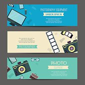 Photography horizontal banner set with photographer equipment flat elements isolated