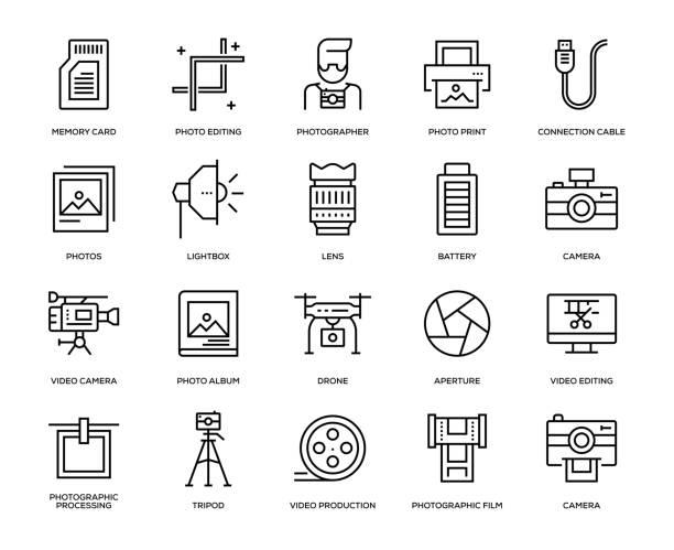 fotografie-icon-set - fotografische themen stock-grafiken, -clipart, -cartoons und -symbole