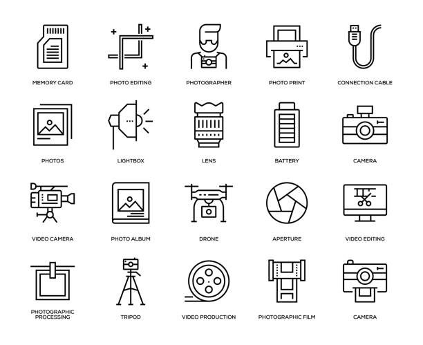 stockillustraties, clipart, cartoons en iconen met fotografie icon set - fotografische thema's