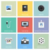 Photography Icon Set Flat Design