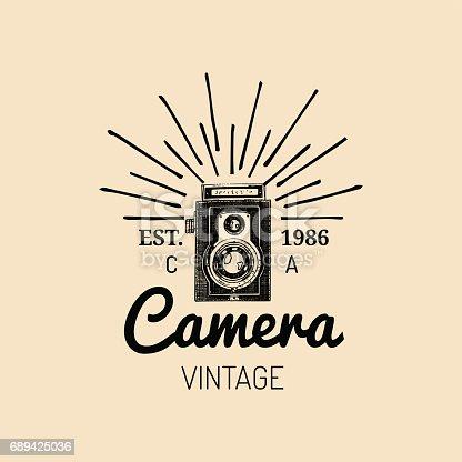 Photography icon. Vector vintage old camera label, badge, emblem. Hand sketched illustration for studio, store etc
