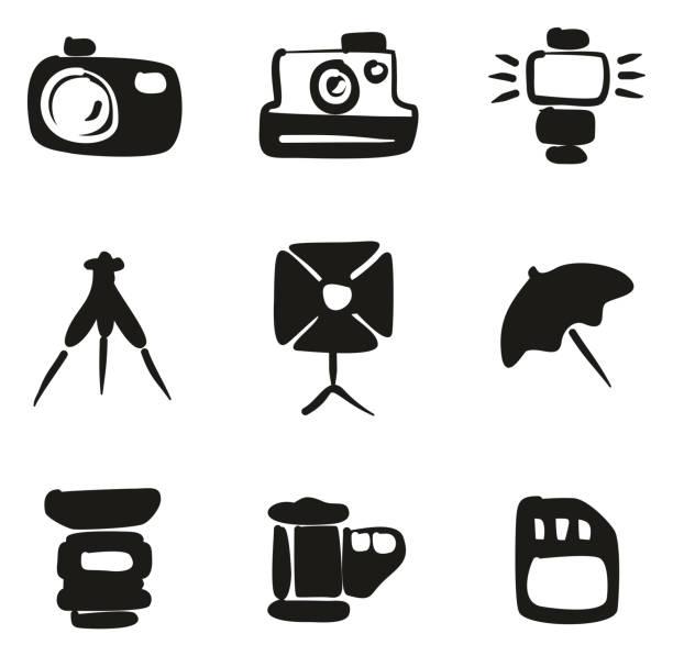 fotografie-icons freihand zu füllen - fotografieanleitungen stock-grafiken, -clipart, -cartoons und -symbole