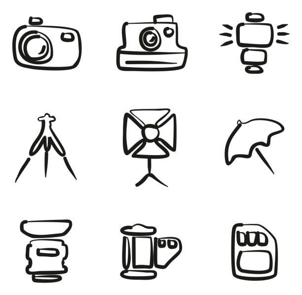 freihand-fotografie symbole - fotografieanleitungen stock-grafiken, -clipart, -cartoons und -symbole