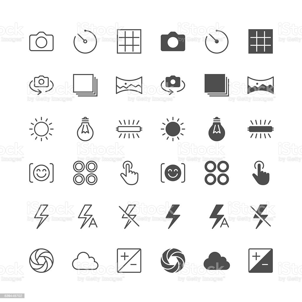 Photography icons, included normal and enable state. vector art illustration