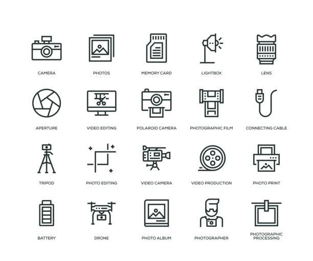 fotografie-icons - line serie - fotografische themen stock-grafiken, -clipart, -cartoons und -symbole