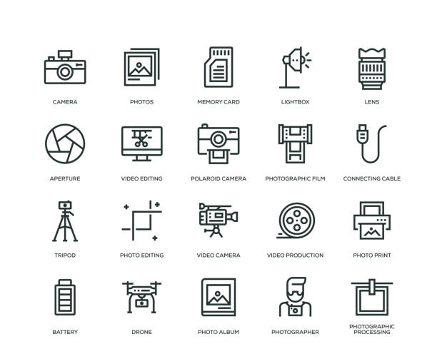 photography icons - line series - tematy fotograficzne stock illustrations