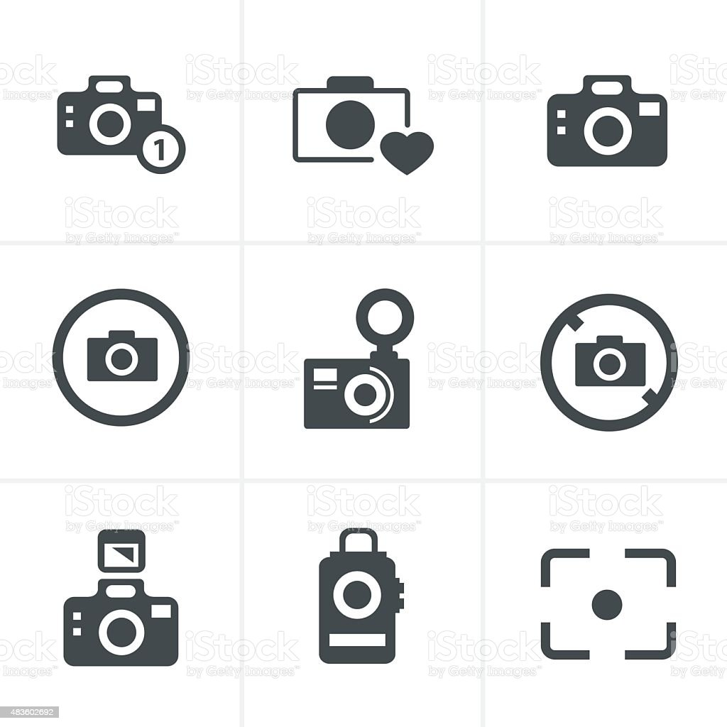 Photography Icons Set vector art illustration