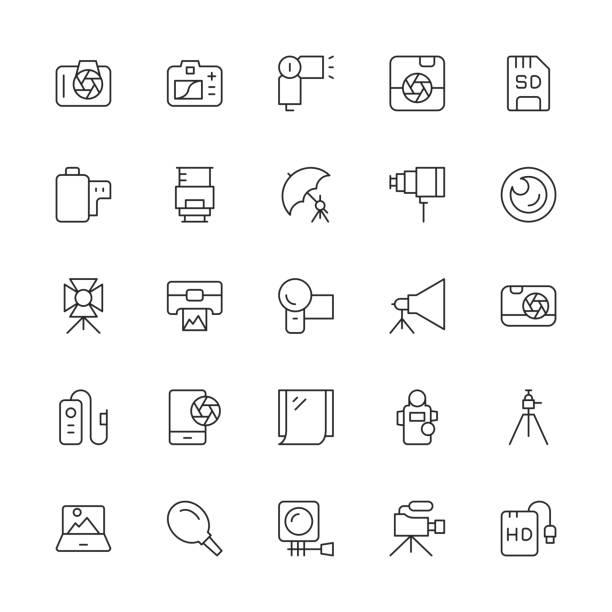 stockillustraties, clipart, cartoons en iconen met fotografie icons - dunne lijn serie - gopro