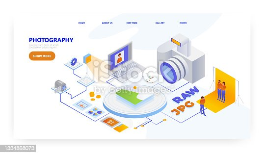 istock Photography, landing page design, website banner vector template. Photographer profession. 1334868073