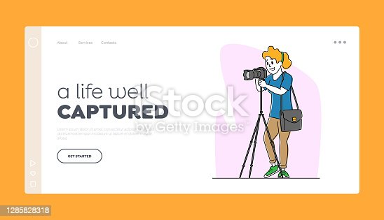 istock Photography Landing Page Template. Professional Female Photographer with Photo Camera on Tripod Making Pictures 1285828318