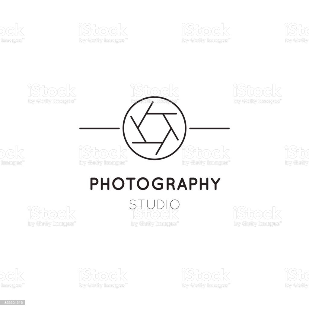 Photography line icon template vector art illustration