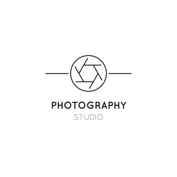 photography line icon template - tematy fotograficzne stock illustrations