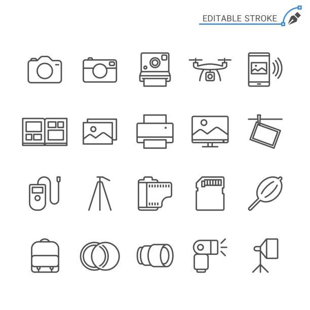 fotografie-linie symbole. editierbare schlaganfall. pixel perfekt. - fotografische themen stock-grafiken, -clipart, -cartoons und -symbole