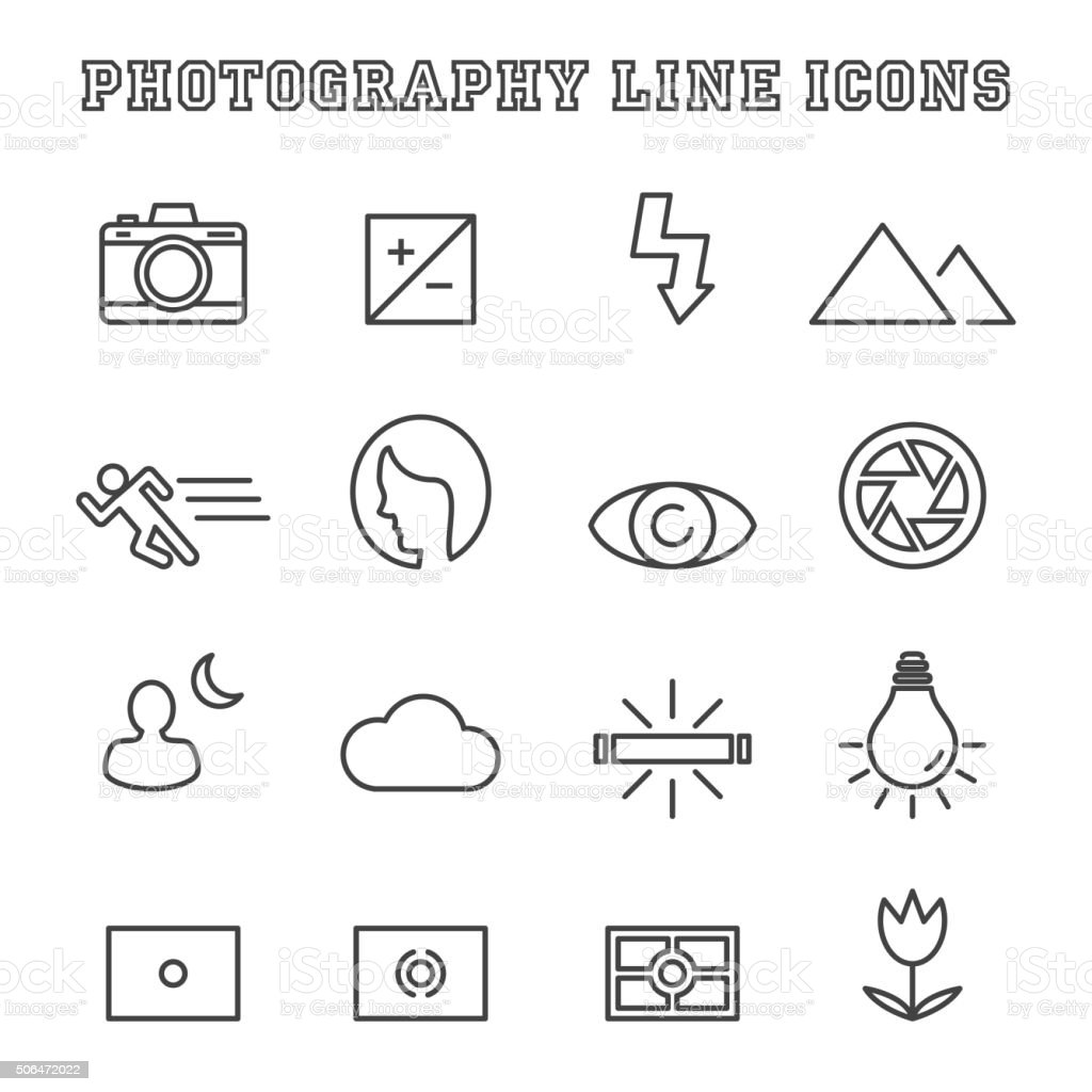 photography line icons vector art illustration