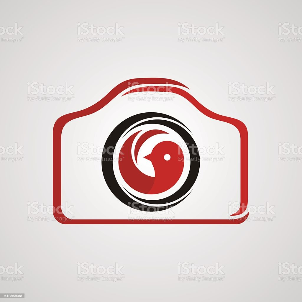 Photography Logo With Red Bird Icon In The Middle Stock Vector Art