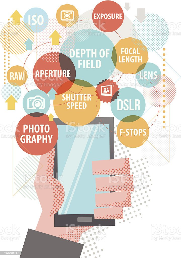 Photography on Smartphone royalty-free photography on smartphone stock vector art & more images of aperture