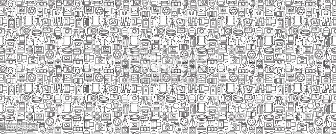 istock Photography Related Seamless Pattern and Background with Line Icons 1201846980