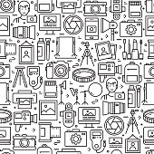 Photography Related Seamless Pattern and Background with Line Icons