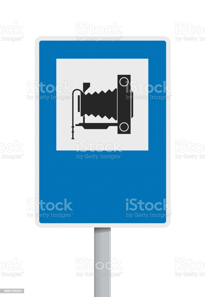 Photography road sign vector art illustration